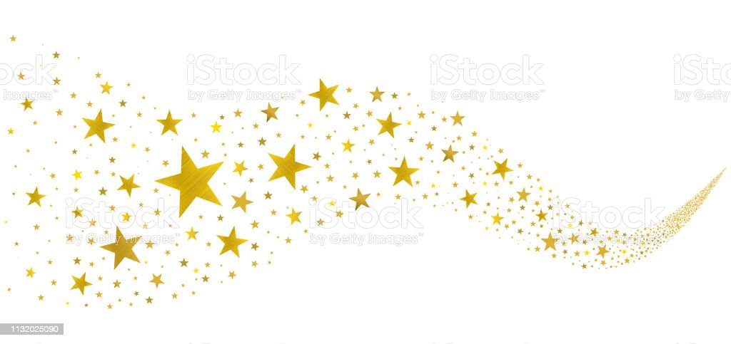 Golden Stars in the Stream gold stars fly in a stream on a white background Abstract stock vector