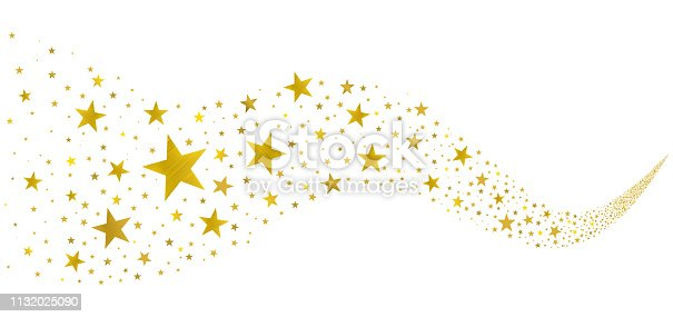 gold stars fly in a stream on a white background