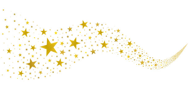 Golden Stars in the Stream gold stars fly in a stream on a white background stars stock illustrations