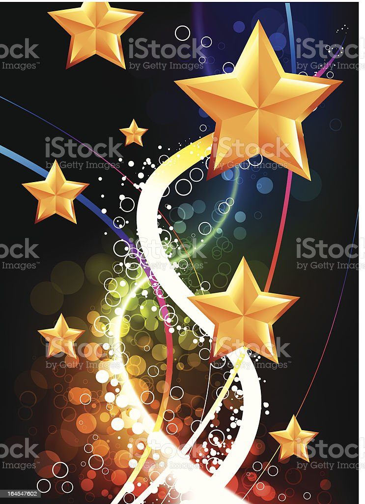 Golden stars on abstract lights background