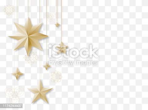 istock Golden stars on transparent background 1174293937