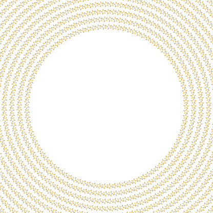 Golden stars outlines in concentric circles framing copy space