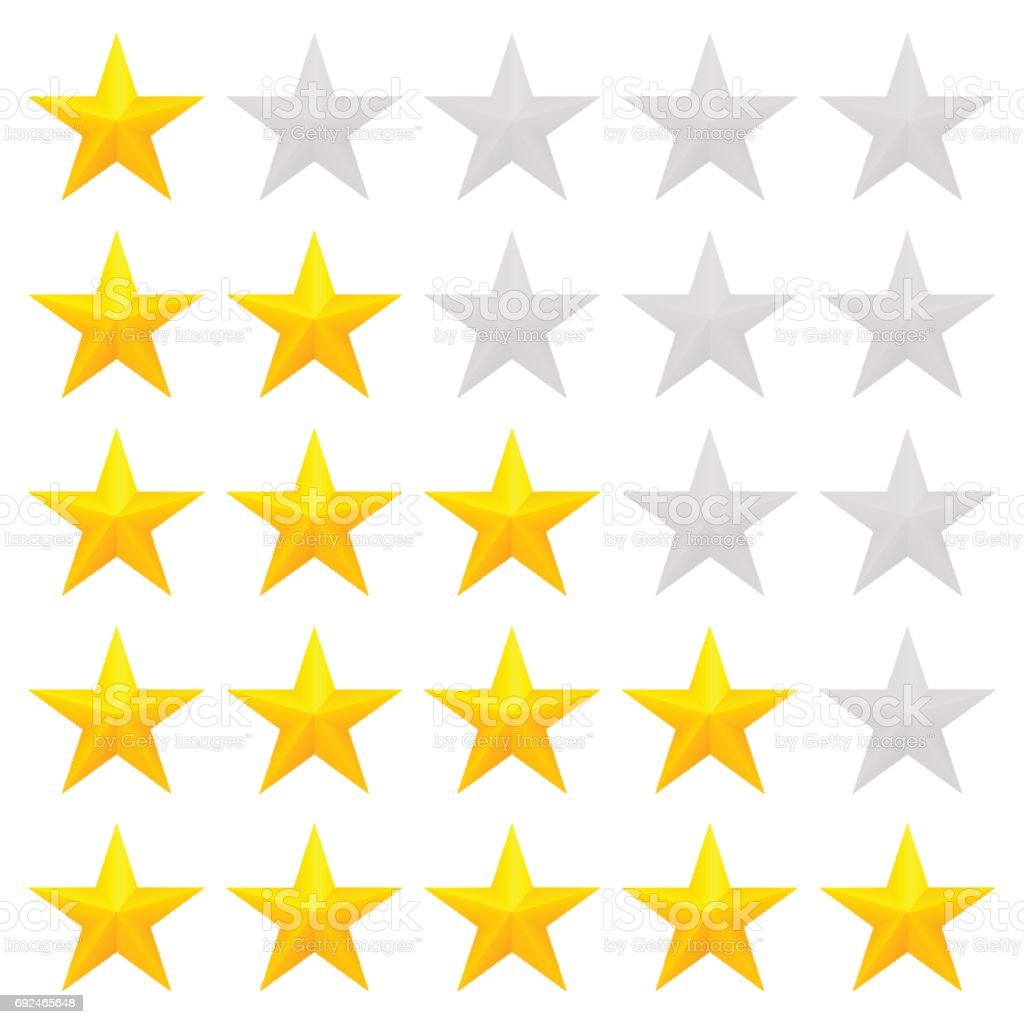 Golden stars rating vector art illustration