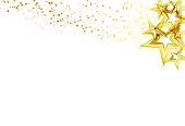 Golden stars scatter glitter sparking and blinking confetti celebration on white abstract background vector illustration