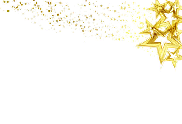 illustrazioni stock, clip art, cartoni animati e icone di tendenza di golden stars scatter glitter sparking and blinking confetti celebration on white abstract background vector illustration - stelle