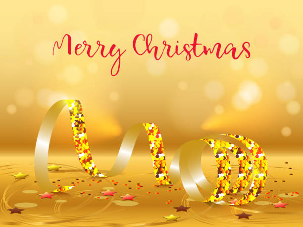 merry christmas happy new year horizontal banners with golden streamers clip art vector images illustrations