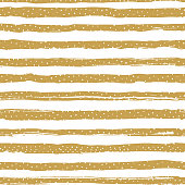 Golden striped seamless pattern, confetti or snowflakes. Trendy holiday geometric background. Golden stripes on a white background. Vector illustration