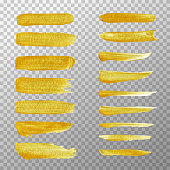 Golden stripes acrylic hand painted isolate on transparent background. Vector hand painted golden stroke brush.