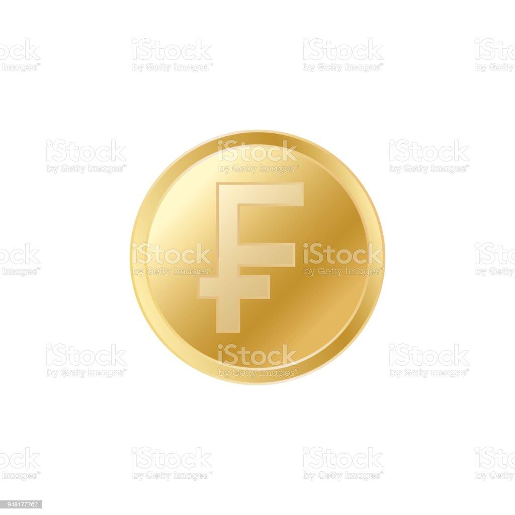 Golden Swiss franc coin. Realistic lifelike gold franc coin. vector art illustration