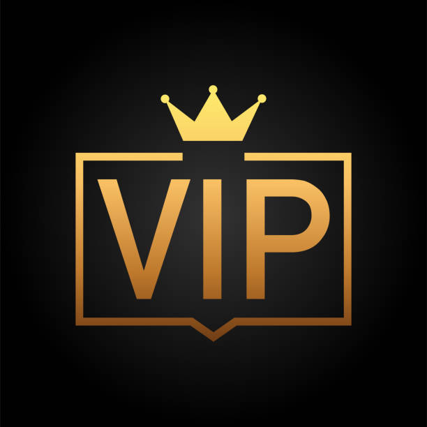 golden symbol of exclusivity, the label vip with glitter. very important person - vip icon on dark background sign of exclusivity with bright, golden glow - celebryci stock illustrations