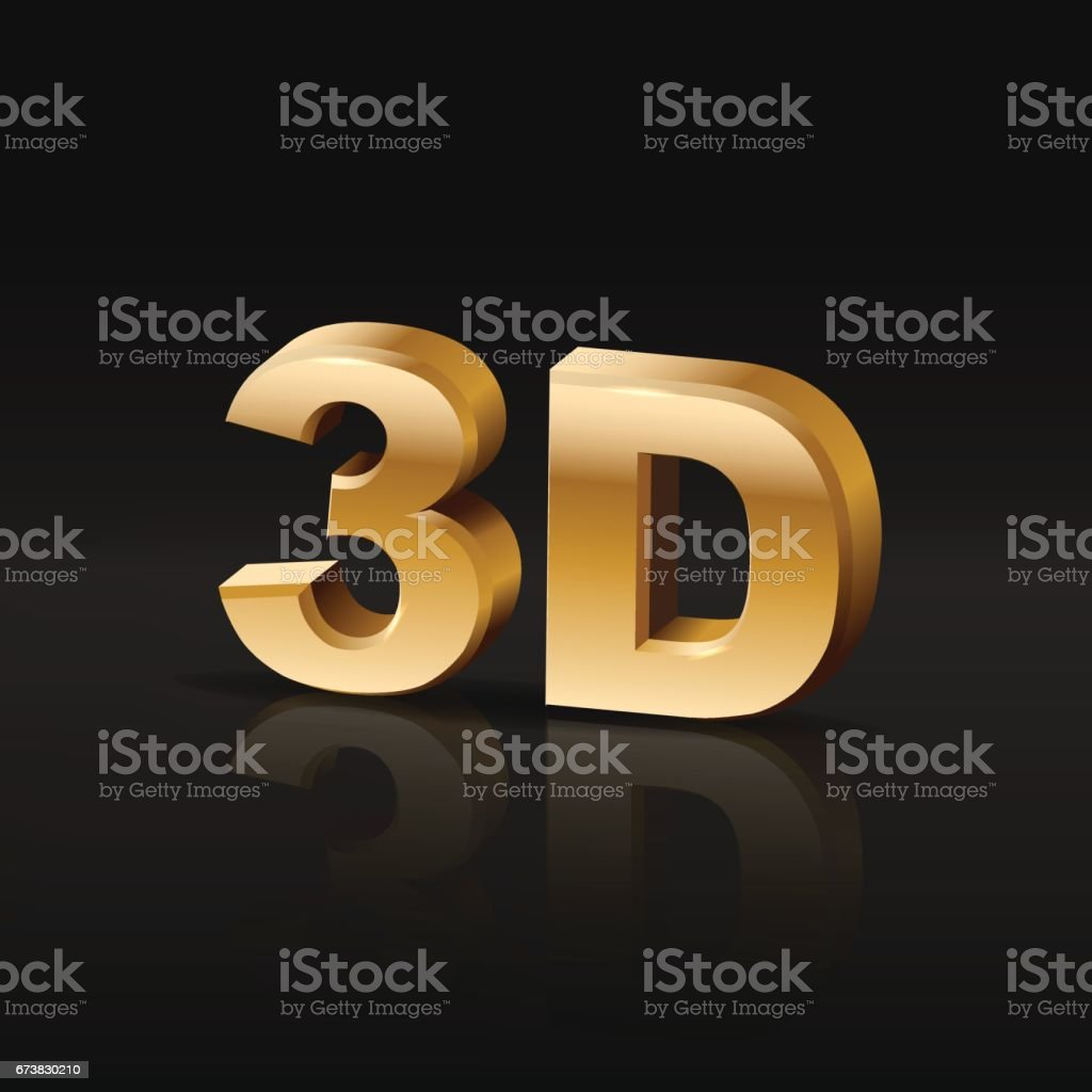 3D golden symbol with mirror reflection on black background. vector art illustration