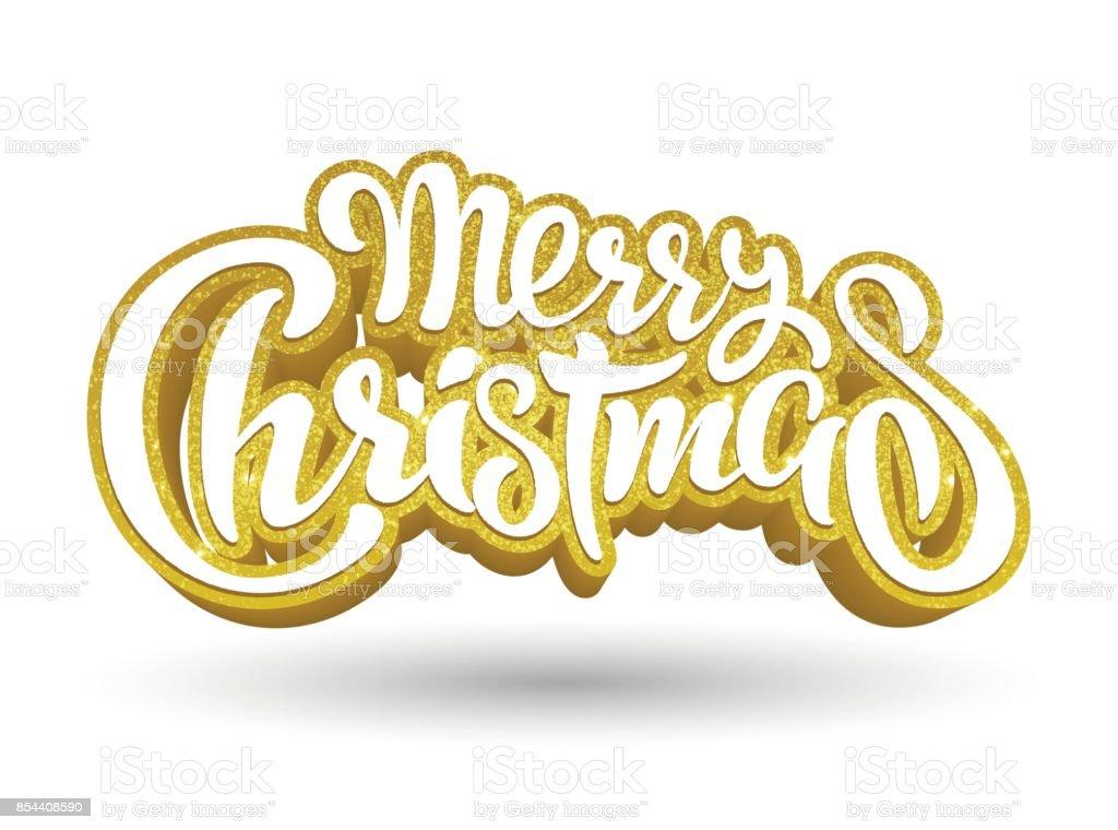 Goldener Text Merry Christmas Schriftzug Einladung Grußkarte Drucke ...