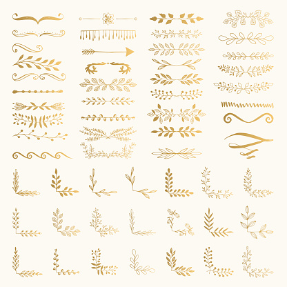 Golden text separators. Wedding ornaments. Vector dividers. Isolated. clipart