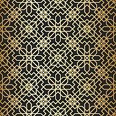 Golden texture. Geometric thin lines pattern. Golden oriental background. Vector wallpaper. Geometric background with cross lines. Abstract geometric Arabic/ Islam/ Muslim pattern.