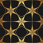 Golden texture. Seamless geometric flower stars thin lines pattern. Golden wallpaper. Vector seamless pattern. Floral  repeat geometric background. Abstract geometric pattern.