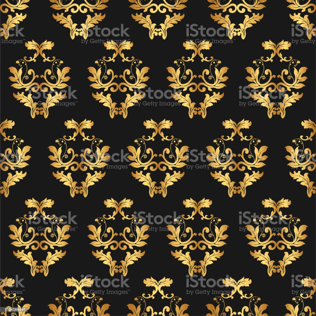 4a5255731981 Seamless geometric flower thin lines pattern. Golden wallpaper. Vector  seamless pattern. Floral geometric background. Abstract geometric pattern.