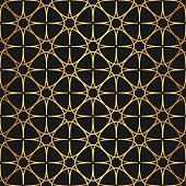 Golden texture. Seamless geometric  stars thin lines pattern. Golden wallpaper. Vector seamless pattern. Oriental repeat geometric background. Abstract geometric Arabic/ Islam/ Muslim pattern.