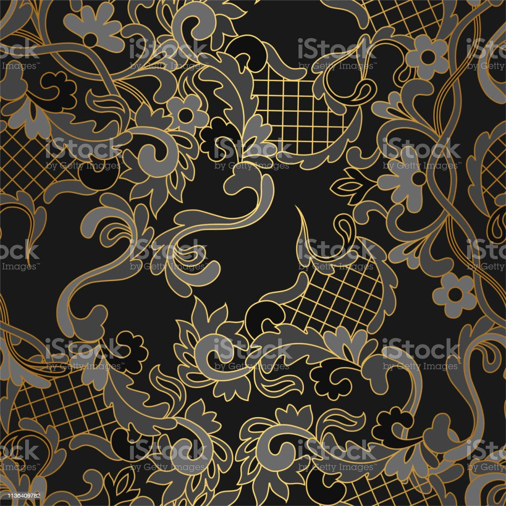 f9e889b76671 Seamless geometric thin lines pattern. Golden floral lace background.  Vector seamless pattern. Floral geometric background with cross lines.