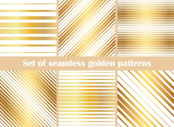 goldene textur. satz geometrischer dünner linien muster. sammlung von goldenen, diagonalen, geraden linien. vector tapeten. abstrakte geometrische goldfolie metallischen strichen und linien. - gartenfolie stock-grafiken, -clipart, -cartoons und -symbole