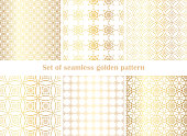 Golden texture. Set of geometric thin lines patterns. Collection of golden oriental squares backgrounds. Vector wallpaper. Abstract geometric Arabic/ Islam/ Muslim pattern.