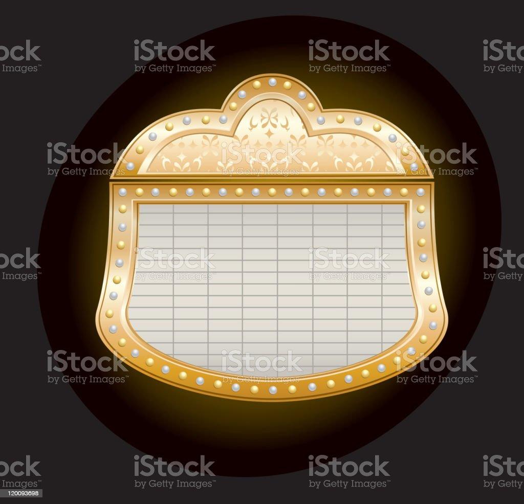 Golden Theater Marquee vector art illustration