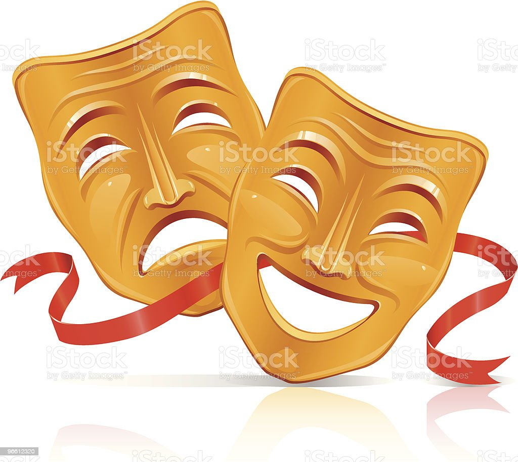 Golden theater masks vector art illustration