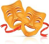 Golden theater masks