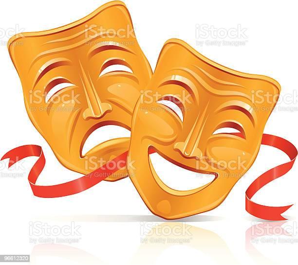 Golden Theater Masks-vektorgrafik och fler bilder på Band