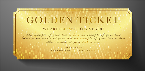 Golden ticket. Gold background for reward card design useful for Gift coupon, gift certificate, voucher