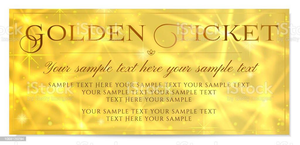 golden ticket gold ticket vector template design with star golden