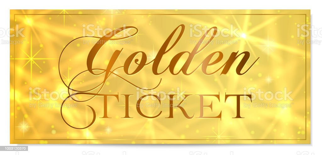 Golden Ticket Gold Ticket Vector Template Design With Star Golden ...