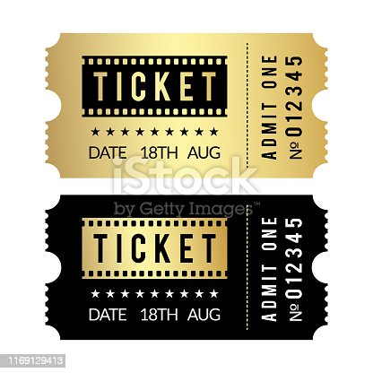Golden ticket set. Cinema, theater, party, museum, event, concert gold and black vector tickets template. Film cinema coupon paper, admit entrance illustration