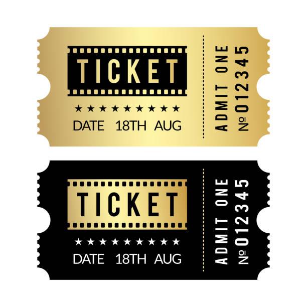 illustrations, cliparts, dessins animés et icônes de ensemble de billets d'or. modèle de billets de cinéma, théâtre, fête, musée, événement, or de concert et de billets vectoriels noirs - museum
