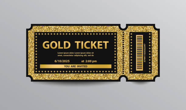 golden ticket - tickets and vouchers templates stock illustrations