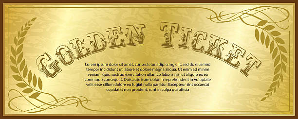 stockillustraties, clipart, cartoons en iconen met golden ticket - ticket