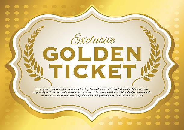 Golden Ticket Golden Ticket bad condition stock illustrations
