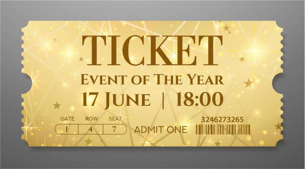 stockillustraties, clipart, cartoons en iconen met golden ticket (tear-off coupon) met ster magische achtergrond - ticket