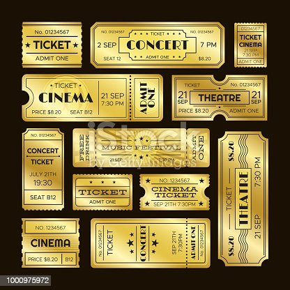 Golden tickets. Admit one gold movie ticket set. Vip party theatre concert show premiere or cinema pass entry scratch coupon retro luxury vector isolated templates symbols