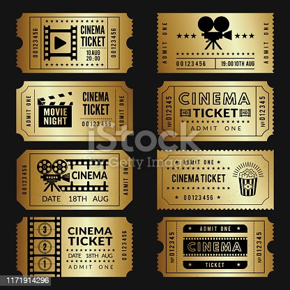 Golden tickets. Entry cinema tickets templates with illustrations of video cameras and other tools. Vector cinema show event, movie ticket