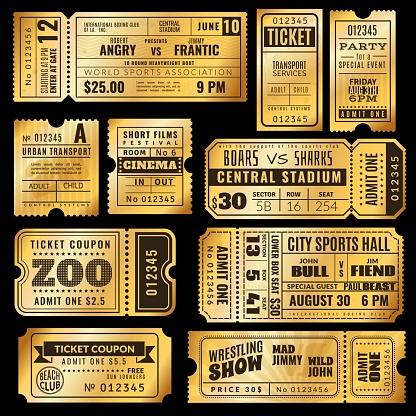 Golden tickets. Vintage admission ticket circus, party and cinema theatre, concert show raffle paper premium coupons vector templates