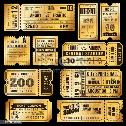 Golden tickets. Old gold admission vip ticket of circus, wedding party and cinema, theater concert. Raffle premium coupons vector ticketing label vintage seat numbers for entrance set