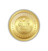 Golden token decorated with stars placed on white background