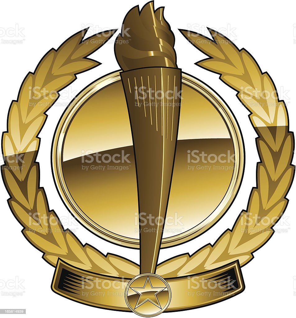 Golden Olympic torch emblem royalty-free stock vector art