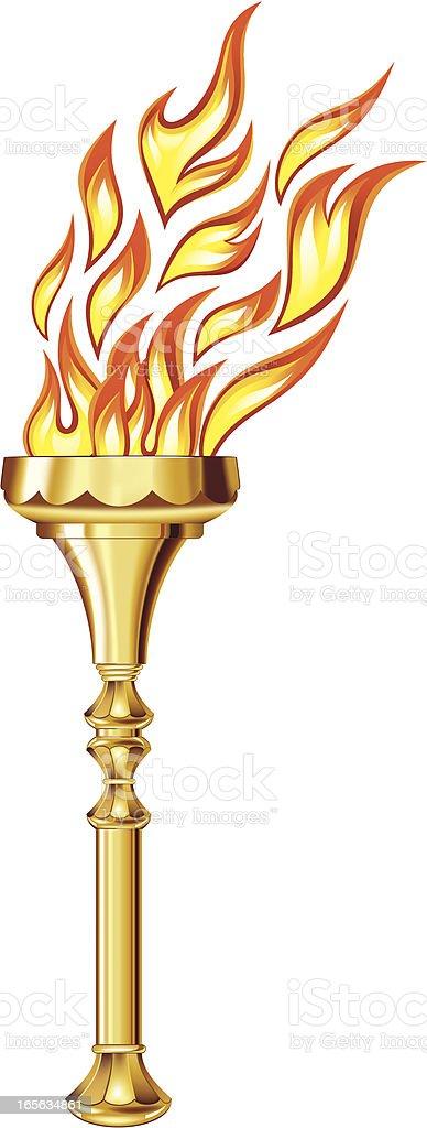 Golden torch vector art illustration