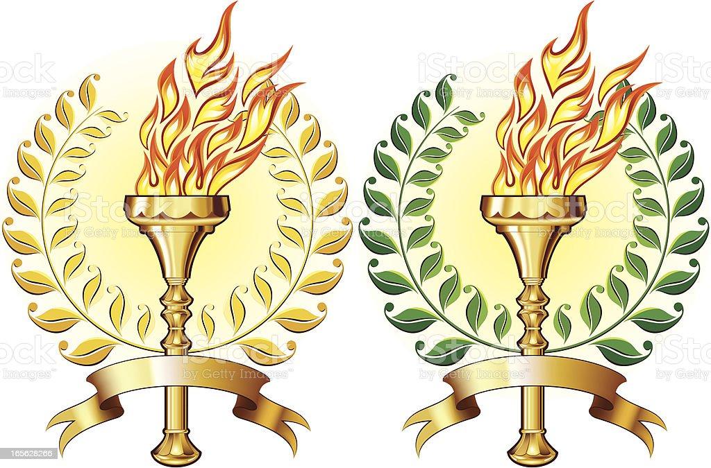 Golden torch with laurel royalty-free stock vector art