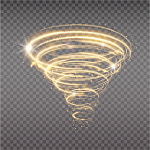 Golden tornado, swirling storm cone of stardust sparkles on transparent background. Golden spiral with light effect. Magical stardust tornado, light hurricane