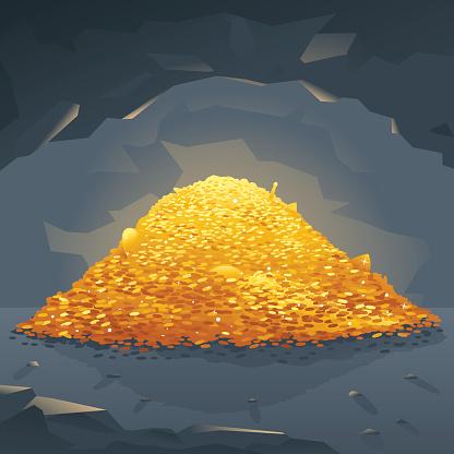 Golden Treasure in Cave
