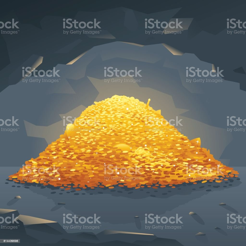 Golden Treasure in Cave vector art illustration