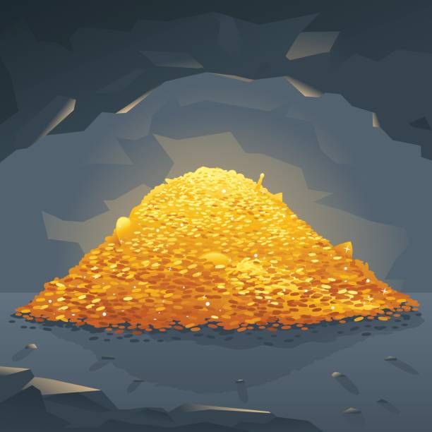 Golden Treasure in Cave Big bright pile of gold coins in dark cave, treasures hidden deep in the cave, wealth conceptual illustration antiquities stock illustrations