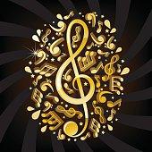 Three-dimensional shape music illustration